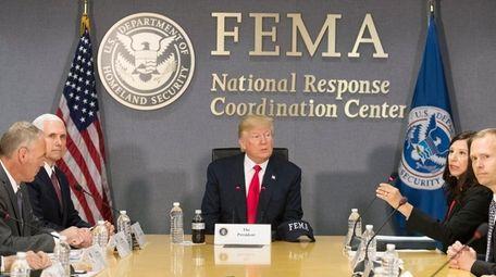 President Donald Trump is briefed on hurricane season