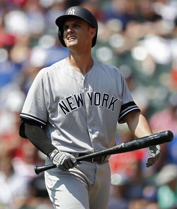 Yankees'Greg Bird after striking out against the Rangers