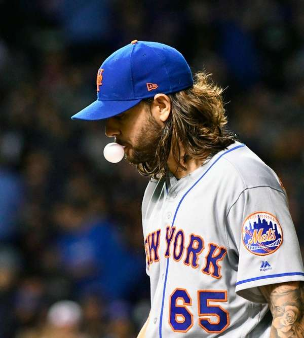 Metspitcher Robert Gsellman after pitching against theCubs in