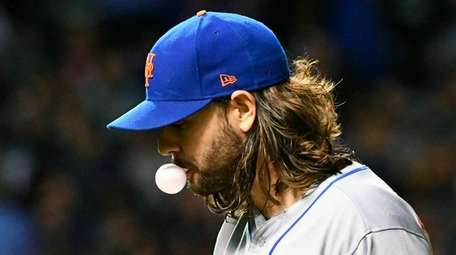 Mets pitcher Robert Gsellman after pitching against the Cubs in