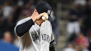 Yankeespitcher Sonny Gray reacts afterRays centerfielder Kevin Kiermaier