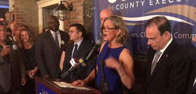 Democratic Nassau County executive candidate Laura Curran speaks