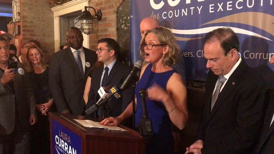 Democratic Nassau County executive candidate Laura Curran speaks