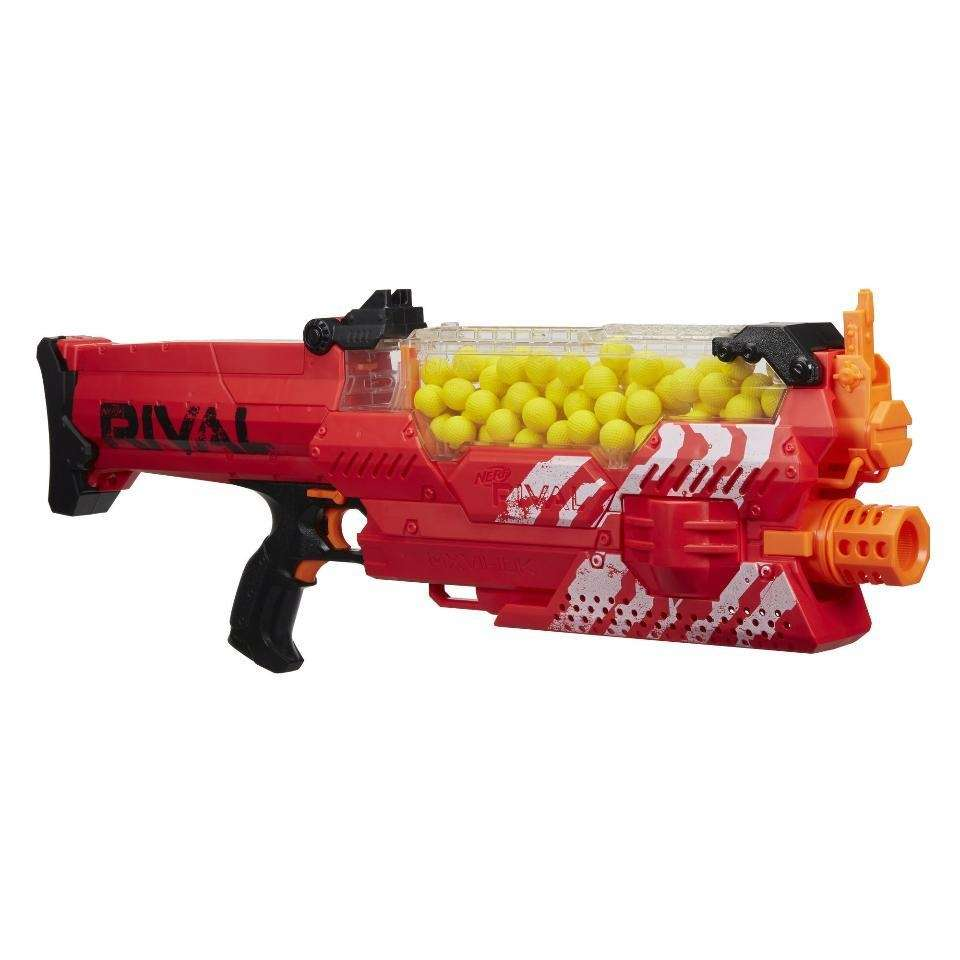 This motorized blaster holds up to 100 high-impact
