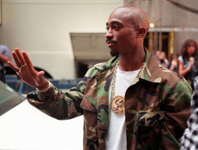 Rapper Tupac Shakur arrives at New York's Radio