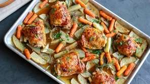 Roast chicken, carrots and potatoes get a flavorful