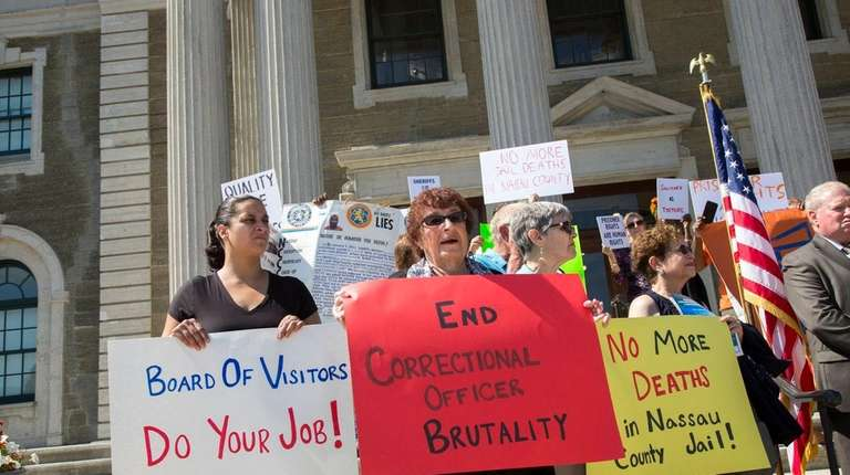 The Nassau County Jail Advocates Coalition rallies Wednesday,