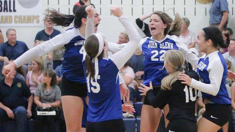 Glenn celebrates after defeating Bayport-Blue Point in a