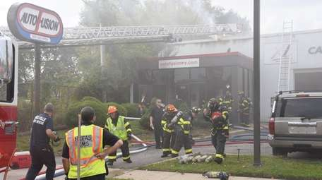 Firefighters at the scene of blaze at Auto