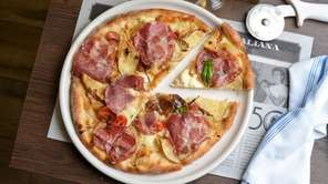 Cafona pizzetta is topped with roasted potatoes, capacollo,