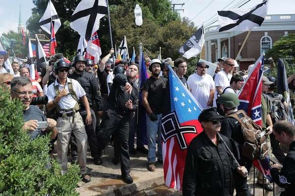 Some members of alt-right groups who rallied on