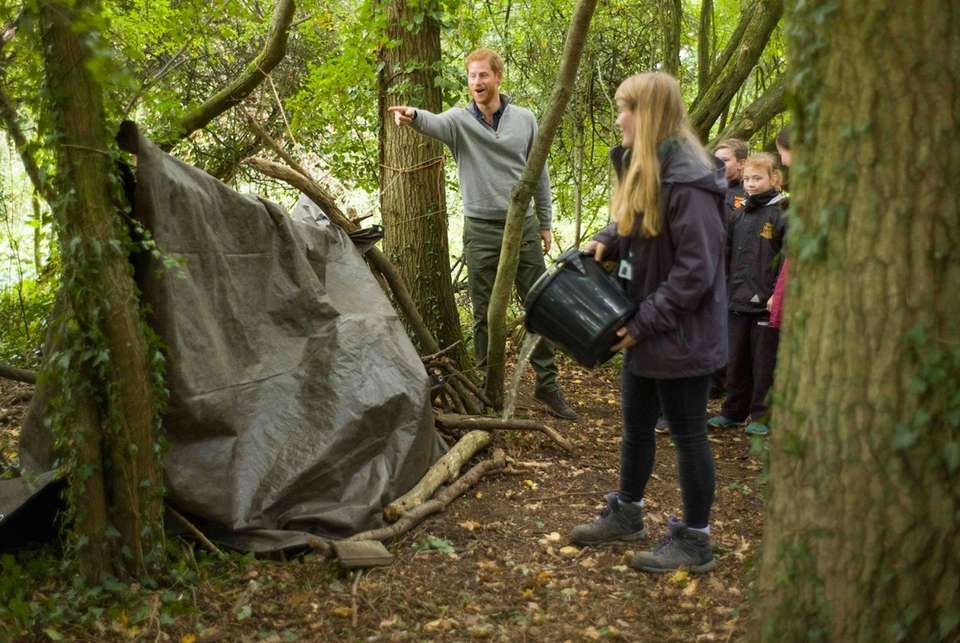 Prince Harry takes part in a shelter building