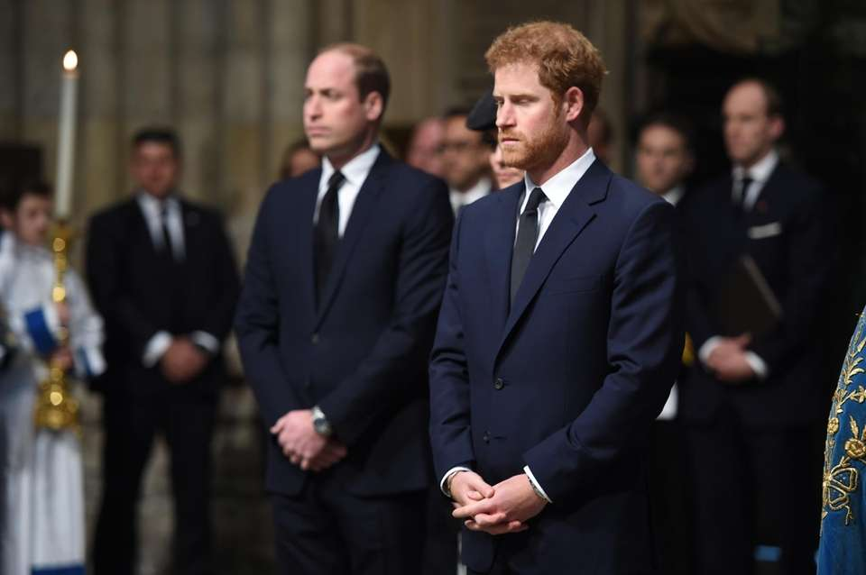 Prince William and Prince Harry attend the Service