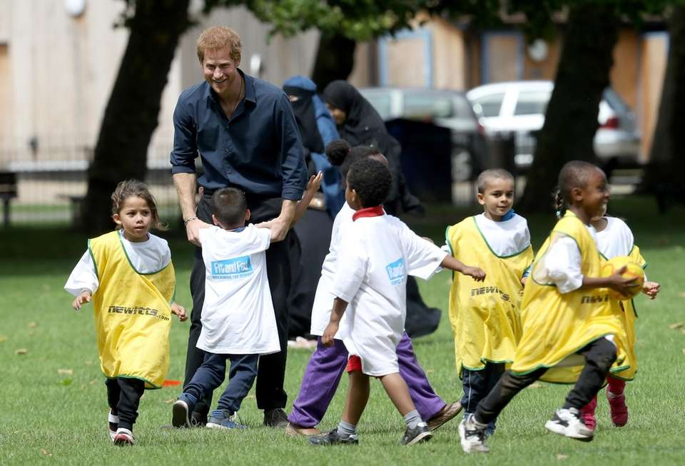 Prince Harry during a visit to StreetGames' Fit