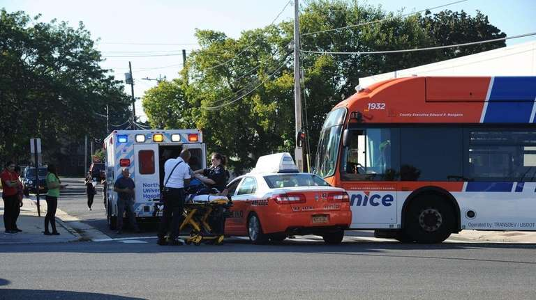 Emergency personnel respond to a crash involving a