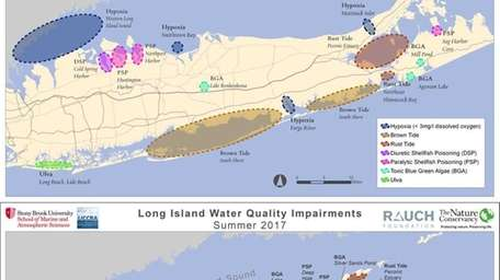 These two maps of Long Island water bodies