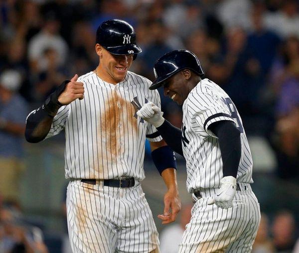 Yankees shortstop Didi Gregorius celebrates his fifth-inning home