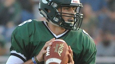 Nick Anzalone #8, Lindenhurst quarterback, looks downfield during