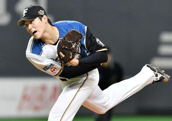 The Nippon Ham Fighters' Shohei Otani, pitching on