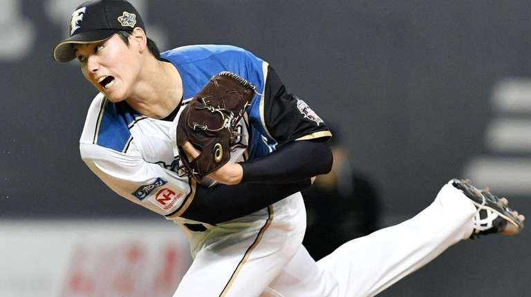 The Nippon Ham Fighters' Shohei Ohtani, pitching on