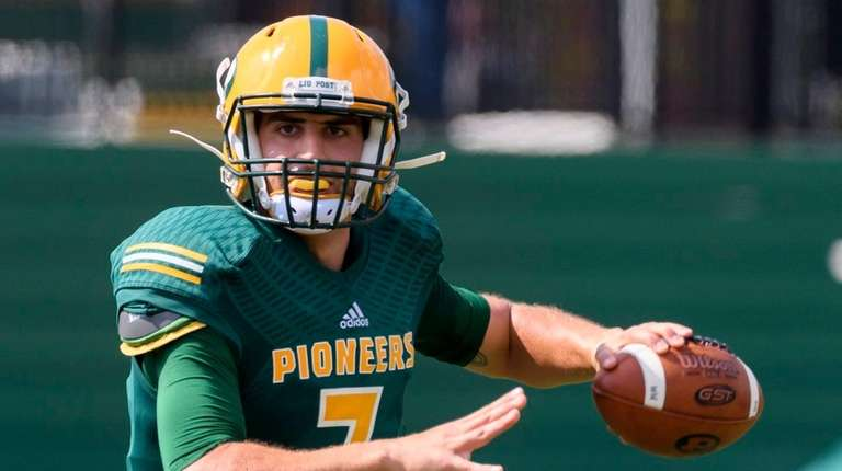 LIU Post Pioneers quarterback Yianni Gavalas during