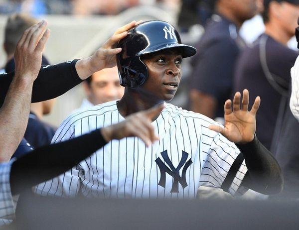 New York Yankees shortstop Didi Gregorius is greeted