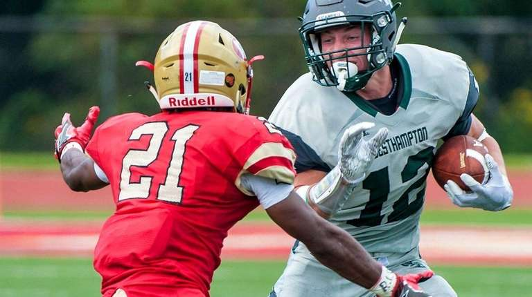 Westhampton High School Football player Dylan Laube (12,