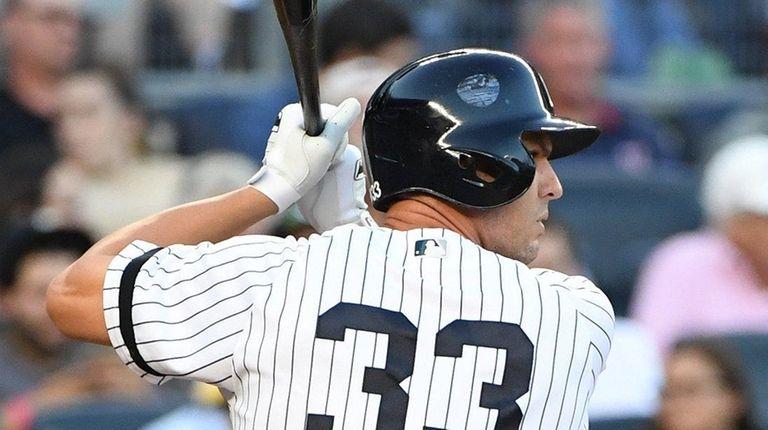 New York Yankees first baseman Greg Bird looks