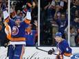 Islanders center John Tavares, far left, celebrates after