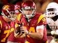 Sam Darnold of the USC Trojans scrambles away