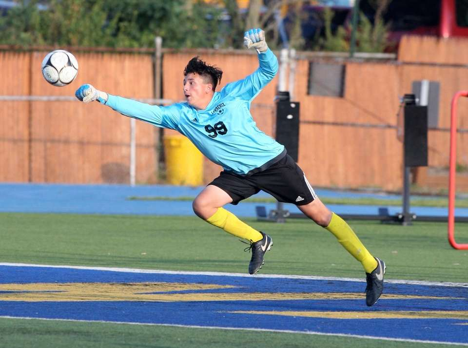 Lawrence goalie Joseph Dvir, no. 99, makes a