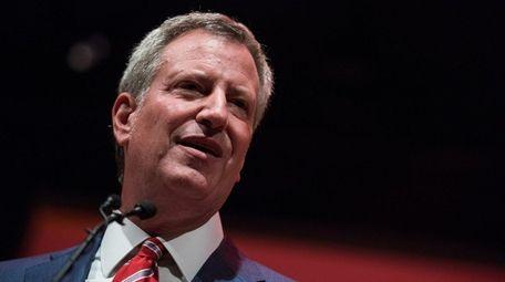 NYC Mayor Bill De Blasio in Brooklyn on