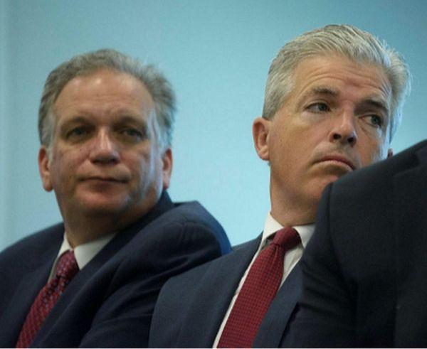 Nassau County Executive Edward Mangano, left, and Suffolk