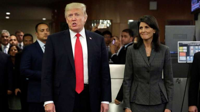 President Donald Trump, accompanied by U.S. Ambassador to