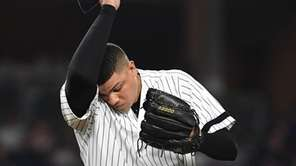Yankees relief pitcher Dellin Betances reacts during the