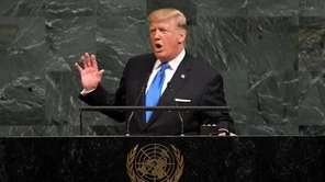 President Donald Trump addresses the 72nd annual UN