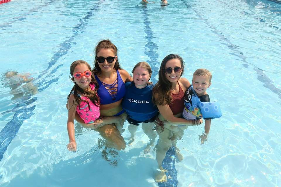 My daughter and cousins in the pool at