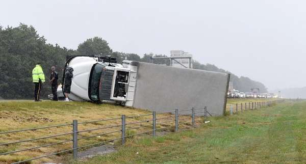Westbound Sunrise Highway in Bellport was temporarily closed