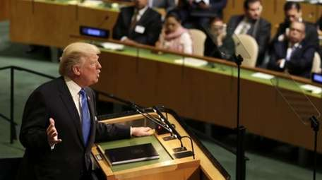 United States President Donald Trump speaks during the