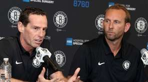 Nets coach Kenny Atkinson, left, and general manager