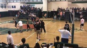 The Lindenhurst boys volleyball team defeated Smithtown West,