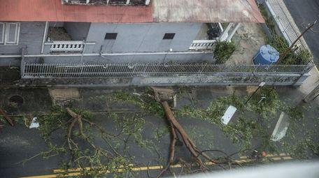 Damage in the Miramar neighborhood in San Juan,