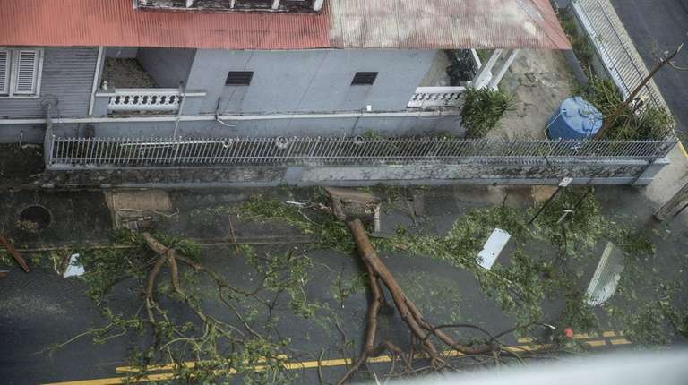 Damage in the Miramar neighborhood in San Juan,