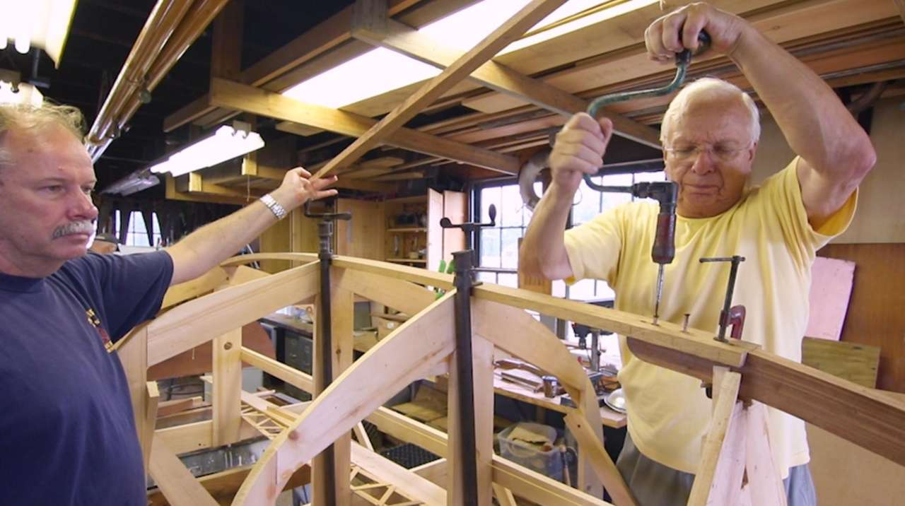 Boatbuilders at the Long Island Maritime Museum in