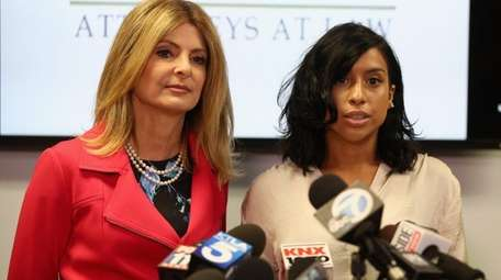 Montia Sabbag, right, and her lawyer, Lisa Bloom,