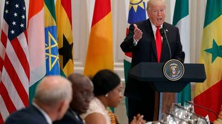 President Donald Trump speaks during a luncheon with