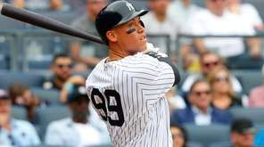Aaron Judge of the Yankees follows through on