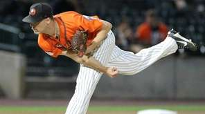 Ducks pitcher John Brownell throws  during Game 1