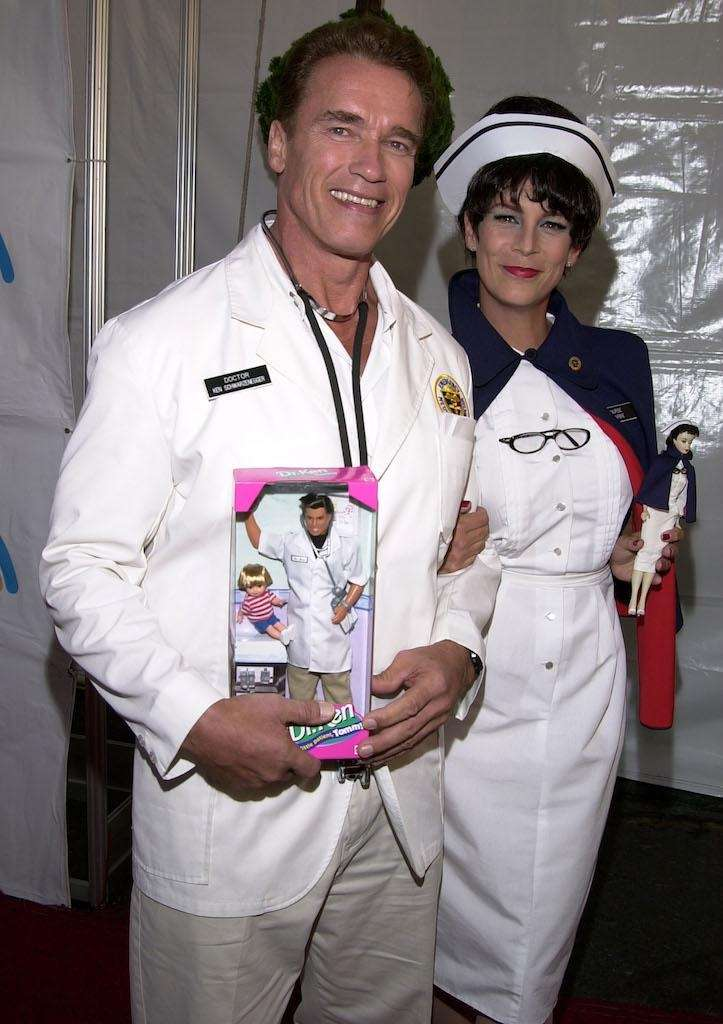 Arnold Schwarzenegger and Jamie Lee Curtis dressed up