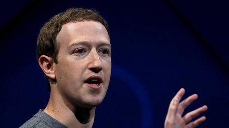Facebook CEO Mark Zuckerberg in San Jose, California,